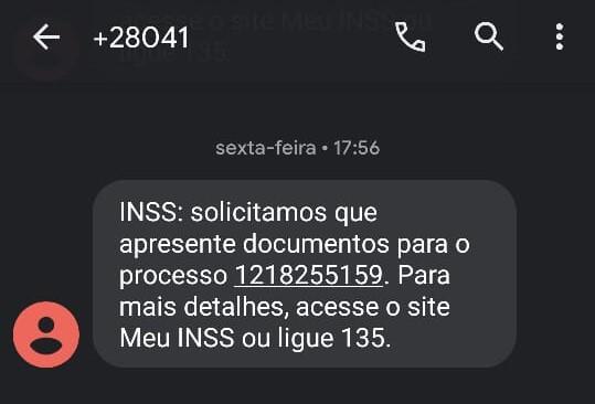 mensagem de texto do INSS para apresentação de documentos